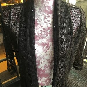 Other - Black See Through Cardigan w/Sequins! Size Large